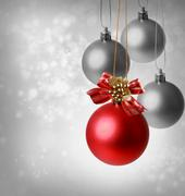 christmas red ornaments - stock photo