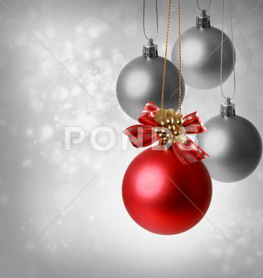 Stock photo of christmas red ornaments