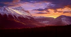 Mountain Range At Sunset Stock Photos