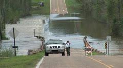 Flooding Road Closure Stock Footage