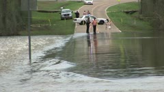 Flooding closes highway - stock footage