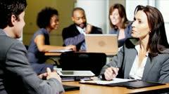 Business People Meeting Office Atrium - stock footage