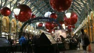 Christmas lights at Convent Garden, London 6 Stock Footage