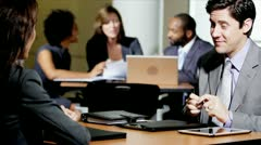 Business People Using Technology Meeting Office Atrium Stock Footage