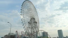 Jp - Pan - Yokohama Ferris Wheel - Minato Mirai - HD Stock Footage