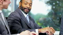 Close Up Male Multi Ethnic Business Colleagues Handshake  Stock Footage