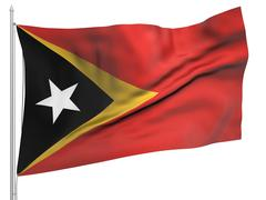Stock Illustration of flying flag of east timor - all countries