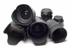 a set of photographic lenses. - stock photo