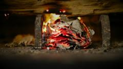 Burn Evidence | smoldering paper in fireplace Stock Footage