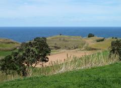 coastal scenery at the azores - stock photo