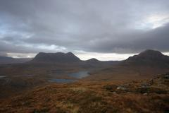 dramatic hilly landscape near stac pollaidh - stock photo