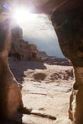 caves of petra - stock photo