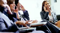 Multi Ethnic Business People Smart Phones Airport Lounge - stock footage