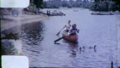 WOMEN CANOE Canoeing Paddle Boat 1950s Vintage 8mm Film Home Movie 6170 Stock Footage