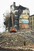 Destruction of old apartment buildings Stock Photos
