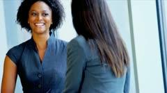 Confident Businesswomen Meeting Airport Lounge - stock footage