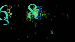 Numbers, isolated on black background, loop Stock Footage