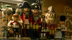 Erzgebirge Nutcrackers and Incense Smoker on German Christmas Market Stock Footage