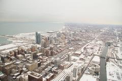Chicago Winter Birds Eye View - stock photo