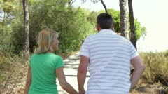 Rear view of romantic senior couple holding hands as they walk along country Stock Footage
