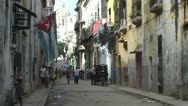Stock Video Footage of Havana, Cuban flag, Colonial buildings, streetview