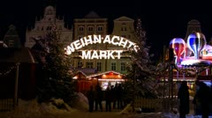 German Christmas Market in Rostock - Baltic Sea, Northern Germany Stock Footage