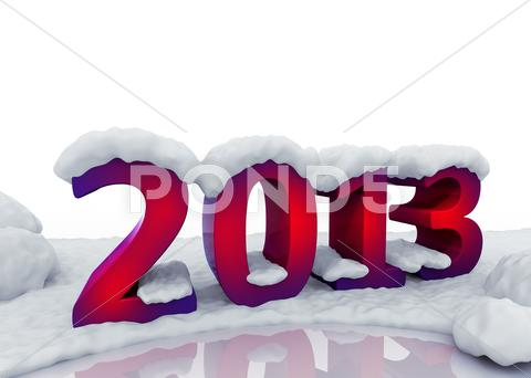 Stock Illustration of 2013 new  year digits under snow