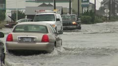 Cars on Flooded Road Stock Footage