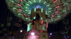Old Style Chairoplane on German Christmas Market Stock Footage