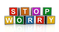3d stop worry - stock illustration