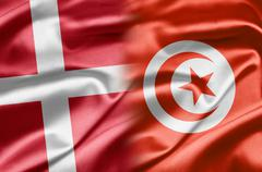 denmark and tunisia - stock illustration