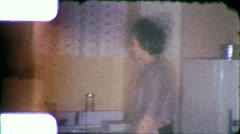 WOMAN MAKING COFFEE Kitchen Holding Pot Cup 1950s Vintage Film Home Movie 6193 Stock Footage