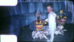 EASTER EGG Basket 1960s Weird Living Room (Vintage Retro Film Home Movie) 6195 - stock footage