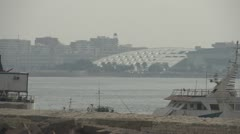 Alexandria library from across harbour Stock Footage