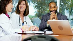 Hospital Director Concluding Meeting Medical Consultants Stock Footage