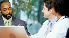 Close Up Medical Staff Meeting Financial Consultant Stock Footage