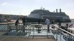 Passengers on top deck of ferry Stock Footage