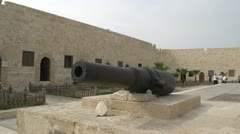 Fort Qauitbey wall and cannon wide shot, #1 Stock Footage