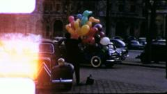 Ballon Vendor STREET SCENE PARIS 1950s (Vintage Retro Film Home Movie) 6217 Stock Footage