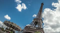 Eiffel Tower with Carrousel Stock Footage