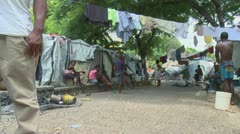 Haiti tent city inside3 Stock Footage