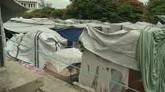 Haiti tent city inside5 - stock footage
