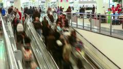 Escalator in shopping center. Timelapse. - stock footage