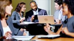 Groups Multi Ethnic People Atrium Business Meeting Stock Footage