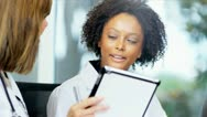 Close Up Multi Ethnic Female Medical Executives Boardroom Meeting Stock Footage