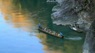 Boat Floating Down River. Stock Footage