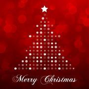 christmas tree on red - stock illustration