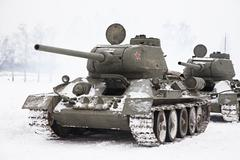 russian tanks t34 - stock photo