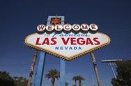 Stock Photo of las vegas welcome sign with palm trees