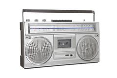 vintage boom box blaster portable stereo with clipping path - stock photo